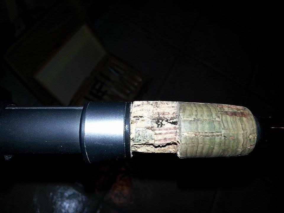riparare portamulinello sughero canna pesca 5