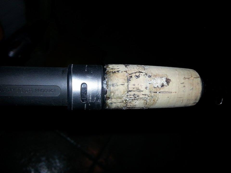 riparare portamulinello sughero canna pesca 8